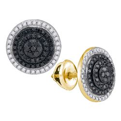 0.55 CTW Black Color Diamond Circle Layered Cluster Earrings 10KT Yellow Gold - REF-32N9F