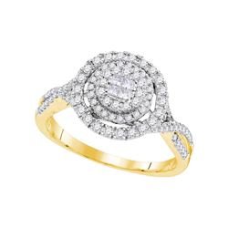 0.51 CTW Princess Diamond Soleil Cluster Bridal Engagement Ring 14KT Yellow Gold - REF-67K4W
