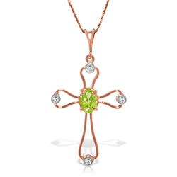 Genuine 0.57 ctw Peridot & Diamond Necklace Jewelry 14KT Rose Gold - REF-40K8V