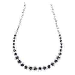 10.22 CTW Black Color Diamond Cluster Necklace 14KT White Gold - REF-701N9F