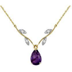 Genuine 1.52 ctw Amethyst & Diamond Necklace Jewelry 14KT Yellow Gold - REF-30H7X