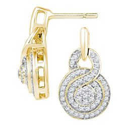 0.50 CTW Diamond Circle Cluster Earrings 10KT Yellow Gold - REF-40Y4X