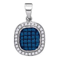 0.25 CTW Blue Color Diamond Square Cluster Pendant 10KT White Gold - REF-14N9F