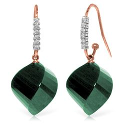 Genuine 30.68 ctw Green Sapphire Corundum & Diamond Earrings Jewelry 14KT Rose Gold - REF-67A3K