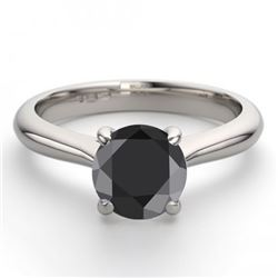 14K White Gold Jewelry 1.02 ctw Black Diamond Solitaire Ring - REF#63N5W-WJ13227