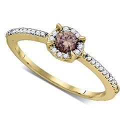 0.36 CTW Cognac-brown Color Diamond Solitaire Bridal Ring 10KT Yellow Gold - REF-22F4N