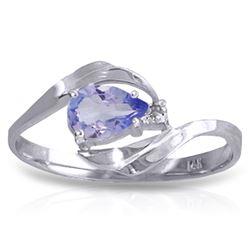 Genuine 0.51 ctw Tanzanite & Diamond Ring Jewelry 14KT White Gold - REF-29R3P