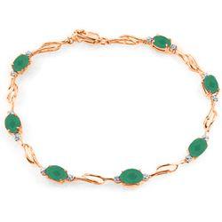 Genuine 3.51 ctw Emerald & Diamond Bracelet Jewelry 14KT Rose Gold - REF-118K2V
