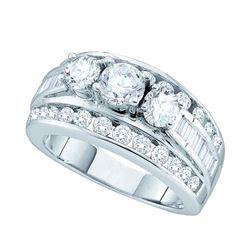 1 CTW Diamond 3-stone Bridal Engagement Ring 14k White Gold - REF-149W9K