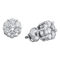 1 CTW Diamond Flower Screwback Stud Earrings 14k White Gold - REF-86K2W