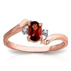 Genuine 0.46 ctw Garnet & Diamond Ring Jewelry 14KT Rose Gold - REF-28Y3F