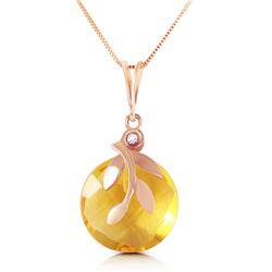 Genuine 5.32 ctw Citrine & Diamond Necklace Jewelry 14KT Rose Gold - REF-31N2R