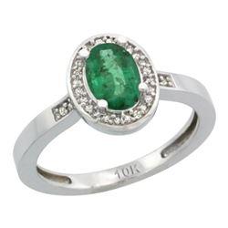 Natural 1.08 ctw Emerald & Diamond Engagement Ring 10K White Gold - REF-28W3K