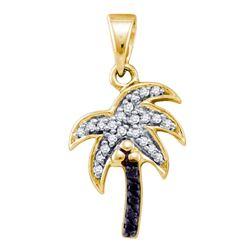 0.10 CTW Black Color Diamond Nautical Palm Tree Beach Pendant 10KT Yellow Gold - REF-12W2K