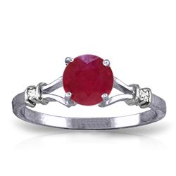 Genuine 1.02 ctw Ruby & Diamond Ring Jewelry 14KT White Gold - REF-30R9P