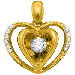 0.15 CTW Moving Twinkle Diamond Heart Pendant 10KT Yellow Gold - REF-24Y2X