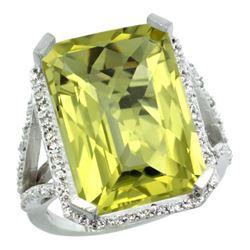 Natural 13.72 ctw Lemon-quartz & Diamond Engagement Ring 10K White Gold - REF-57N8G