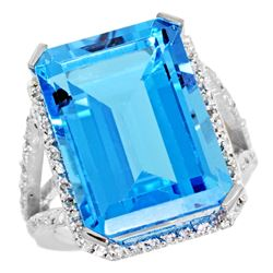Natural 13.72 ctw Swiss-blue-topaz & Diamond Engagement Ring 14K White Gold - REF-81R3Z