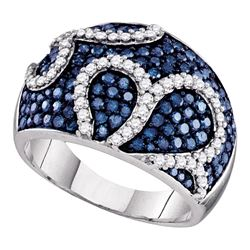 1.45 CTW Blue Color Diamond Fashion Ring 10KT White Gold - REF-82N4F