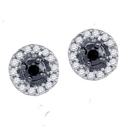 0.20 CTW Black Color Diamond Stud Screwback Earrings 10KT White Gold - REF-12X8Y