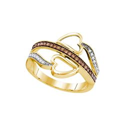 0.20 CTW Cognac-brown Color Diamond Heart Crossover Ring 10KT Yellow Gold - REF-22N4F