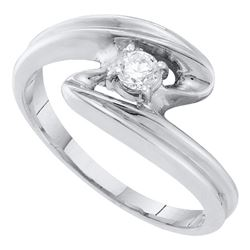 0.15 CTW Diamond Solitaire Bridal Ring 10KT White Gold - REF-19N4F
