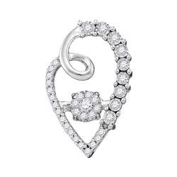 0.20 CTW Diamond Cluster Heart Pendant 10KT White Gold - REF-31M4H