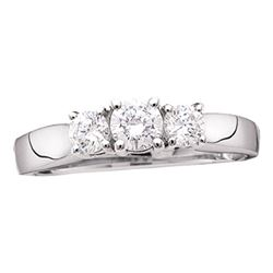 0.24 CTW Diamond 3-stone Bridal Engagement Ring 14KT White Gold - REF-27M7H