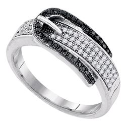 0.25 CTW Black Color Diamond Belt Buckle Ring 10KT White Gold - REF-34N4F