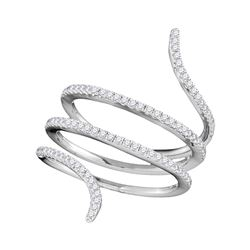 0.38 CTW Diamond Serpent Wrap Ring 18KT White Gold - REF-101M9H