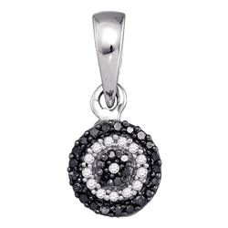 0.10 CTW Black Color Diamond Circle Cluster Pendant 10KT White Gold - REF-8H9M