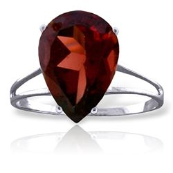 Genuine 5 ctw Garnet Ring Jewelry 14KT White Gold - REF-42F9Z