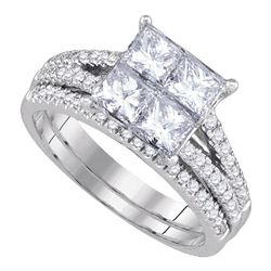 2 CTW Princess Diamond Bridal Engagement Ring 14KT White Gold - REF-382Y4X