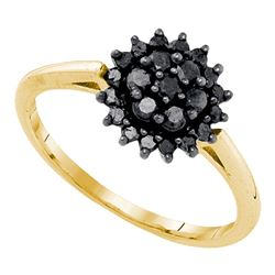 0.45 CTW Black Color Diamond Cluster Ring 10KT Yellow Gold - REF-22F4N
