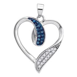 0.20 CTW Blue Color Diamond Heart Love Pendant 10KT White Gold - REF-18X2Y