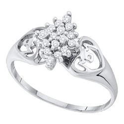 0.15 CTW Prong-set Diamond Cluster Heart Mom Ring 14KT White Gold - REF-14N9F