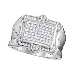 1.08 CTW Mens Princess Diamond Symmetrical Square Cluster Ring 10KT White Gold - REF-93K7W