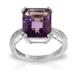 Genuine 5.62 ctw Amethyst & Diamond Ring Jewelry 14KT White Gold - REF-82Z9N