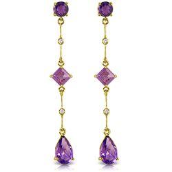 Genuine 6.06 ctw Amethyst & Diamond Earrings Jewelry 14KT Yellow Gold - REF-33R8P
