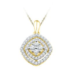 0.50 CTW Diamond Square Cluster Pendant 10KT Yellow Gold - REF-34Y4X