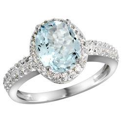 Natural 1.57 ctw Aquamarine & Diamond Engagement Ring 14K White Gold - REF-47F5N