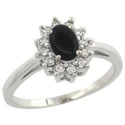 Natural 0.67 ctw Onyx & Diamond Engagement Ring 10K White Gold - REF-38K4R
