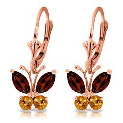 Genuine 1.24 ctw Garnet & Citrine Earrings Jewelry 14KT Rose Gold - REF-38Z2N
