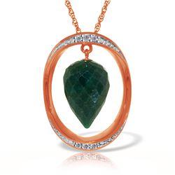 Genuine 13.1 ctw Sapphire & Diamond Necklace Jewelry 14KT Rose Gold - REF-122Y8F