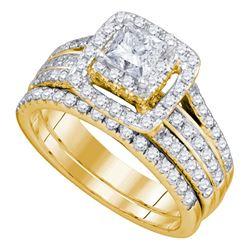 1.47 CTW Princess Diamond Bridal Engagement Ring 14KT Yellow Gold - REF-209F9N