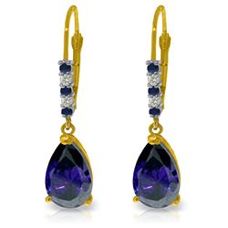 Genuine 3.18 ctw Sapphire & Diamond Earrings Jewelry 14KT Yellow Gold - REF-47R2P