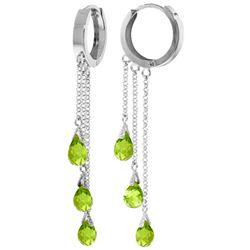 Genuine 4.8 ctw Peridot Earrings Jewelry 14KT White Gold - REF-64Z4N