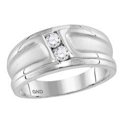 0.33 CTW Diamond 2-stone Channel-set Wedding Ring 10KT White Gold - REF-63W2K