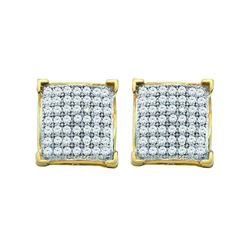 0.10 CTW Pave-set Diamond Square Cluster Earrings 10KT Yellow Gold - REF-10K5W