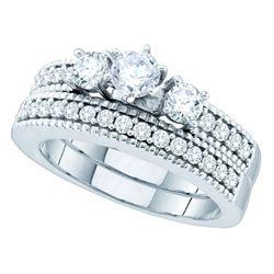 1 CTW Diamond 3-Stone Bridal Engagement Ring 14KT White Gold - REF-165M2H
